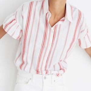 Madewell NWT Central Ruffle Sleeve Striped Shirt
